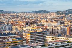 panorama of barcelona city - stock photo