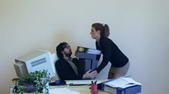 Office Work 2E Employee lazy too much work - stock footage