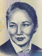 Bubusara Beyshenalievaon 5 Som 1994 Banknote from Kyrgyzstan - stock photo