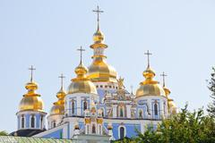 st. michael's golden-domed cathedral in kiev - stock photo