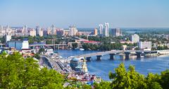 Kiev cityscape and dnieper river Stock Photos