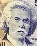 Carlos Gomes on 5000 Cruzerios 1993 Banknote from Brazil Stock Photos