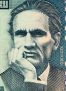 Cesar Vallejo on 10000 Indis 1988 Banknote from Peru Stock Photos