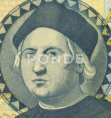 Stock photo of Christopher Columbus on 1 Dollar 1992 Banknote from Bahamas