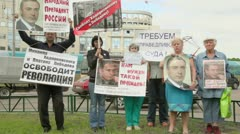 People hold placards with manifesto of Khodorkovsky freedom Stock Footage