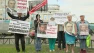 People hold placards with manifesto of Khodorkovsky freedom Stock Footage