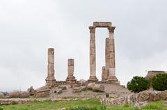 temple of hercules in antique citadel in amman - stock photo