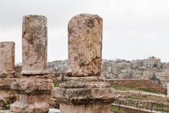 antique citadel in amman - stock photo