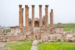 corinthium colonnade of artemis temple in ancient town jerash - stock photo