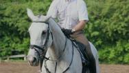 Jockey sits and lies on horseback closeup at summer day Stock Footage
