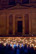 Stock Photo of the treasury at petra at night, jordan