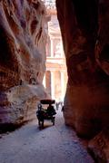 Bedouin carriage in siq pass to petra city Stock Photos