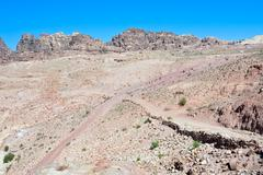 Crossroads in stone waste land of petra Stock Photos