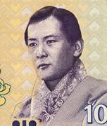 Jigme Singye on 10 Ngultrum 2006 Banknote from Bhutan Stock Photos