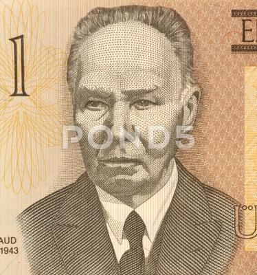 Stock photo of Kristjan Raud on 1 Kroon 1992 Banknote from Estonia