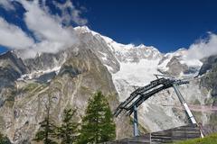 cableway beneath mont blanc - stock photo