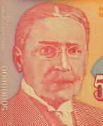 Michael Pupin on 50000000 Dinara 1993 Banknote from Yugoslavia Stock Photos