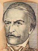 Ramon Castilla on 100 Intis 1987 Banknote from Peru - stock photo