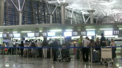 People are registered on flight at airport. Stock Footage