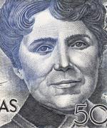 Rosalia de Castro on 500 Pesetas 1979 Banknote From Spain - stock photo