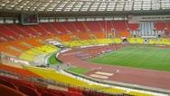 Audience looks Eliminatory championship of Russia on athletics Stock Footage
