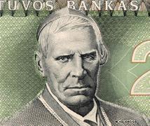 Samogitian Bishop Motiejus Valancius on 2 Litai 1993 Banknote from Lithuania Stock Photos
