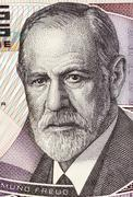 Sigmund Freud on 50 Shilling 1986 Banknote from Austria Stock Photos