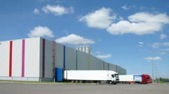 Waggons stand on loading on warehouse of paint and varnish plant Stock Footage