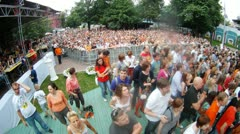People look concert of Chaif rock band in garden the Hermitage Stock Footage