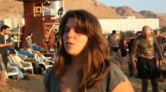 Daphne Leef interview at the  'Save the Dead Sea' floating installation Stock Footage