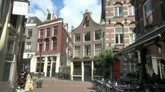 Amsterdam houses in an alley  Stock Footage
