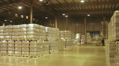 Many pallets with kvass stands in warehouse at plant Stock Footage