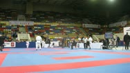 Stock Video Footage of Girls of karateka participate in duel on championship on karate