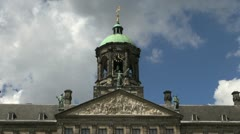Netherlands Amsterdam palace tower tympanum timelapse Stock Footage