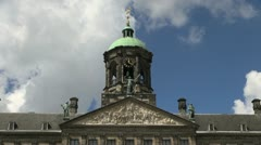 Netherlands Amsterdam palace close up roof and bell tower Stock Footage