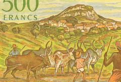 Herdsmen with Zerbus on 500 Francs 1995 Banknote from Madagascar Stock Photos
