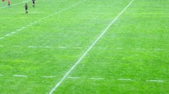 Teams play on field on second stage of championship on rugby-7 Stock Footage
