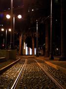 trolly tracks - stock photo