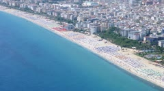 Beach is located on sandy coast of  Mediterranean, time lapse Stock Footage
