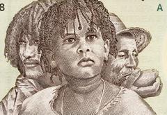 Three Generations of Eritreans on 5 Nakfa 1997 Banknote from Eritrea Stock Photos