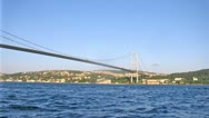 Bosporus Bridge stands against city landscape in Istanbul Stock Footage