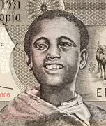 Stock Photo of Young Man on 1 Birr 2006 Banknote from Ethiopia