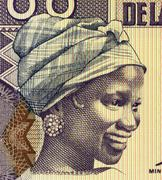 Young Woman on 100 Francs 1998 Banknote from Guinea - stock photo