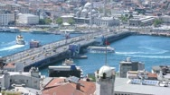 Stock Video Footage of Walking ships float under Galata Bridge, time lapse
