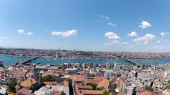 Galata Bridge and Bosporus Bridge connect two coast of Istanbul Stock Footage