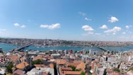 Stock Video Footage of Galata Bridge and Bosporus Bridge connect two coast of Istanbul