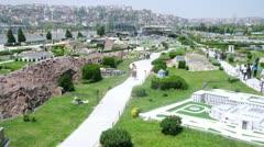 Visitors walk on park museum Miniaturk in Istanbul, Turkey Stock Footage