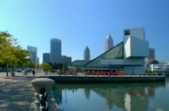 Cleveland Rock and roll hall of fame seen from pier Stock Footage