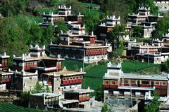 Landscape of tibetan buildings Stock Photos