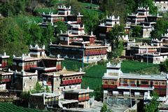 Landscape of tibetan buildings Stock Photos